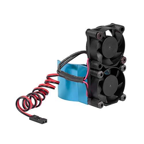 GoolRC RC Car Motor Heatsink 550 540 Motor Double Cooling Fans with Thermal Sensor CNC Aluminum Alloy Heatsink for Traxxas Hsp Tamiya Axial SCX10 D90 HPI Car Blue