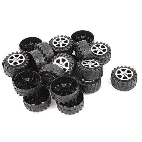 uxcell 20 Pcs Plastic RC Car Robot Vehicle Wheel DIY 42mm Diameter Rims Black