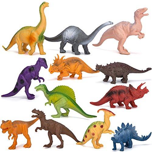 Dinosaur Figure Toys 7 Inch Jumbo Plastic Dinosaur Playset STEM Educational Realistic Dinosaur Figures for Boys Girls Toddlers Including T-Rex Stegosaurus Triceratops Monoclonius 12 Pack