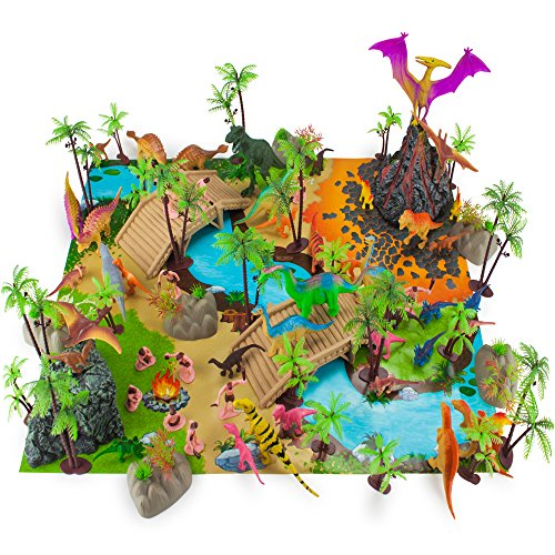 Prehistoric Playset 100 Pieces - Jurassic Dinosaurs and Cave Men - Mini Dino Figure Bundle Kit with Play Mat Storage Container Volcano Bridges Plants Educational Booklet - Toys Games for Kids