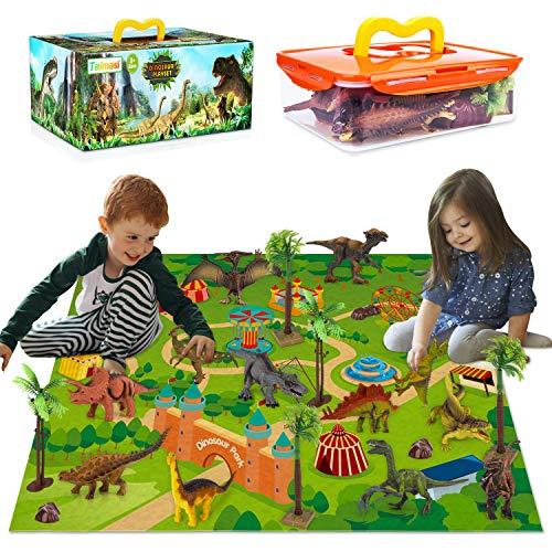 TAIMASI 25PCS Dinosaur Toys 13PCS Dinosaur Figures Large Activity Play Mat 6 Trees 4 Rocks Educational Realistic Dinosaur Playset for Kids Boys Girls Perfect Dinosaurs Toys Gifts for Kids