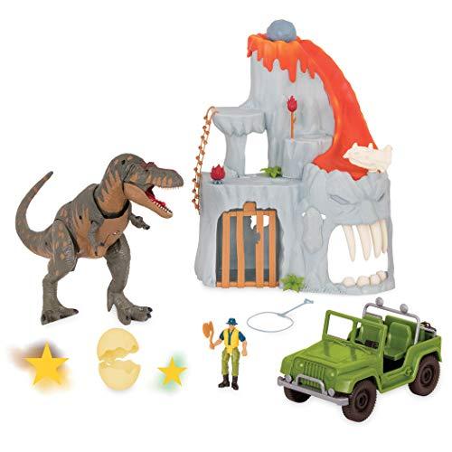 Terra by Battat - T-Rex Big Playset- Electronic Tyrannosaurus Rex Dinosaur Lava Mountain Set with 2 Surprise Dinosaur Toys for Kids Age 3 14 Pc