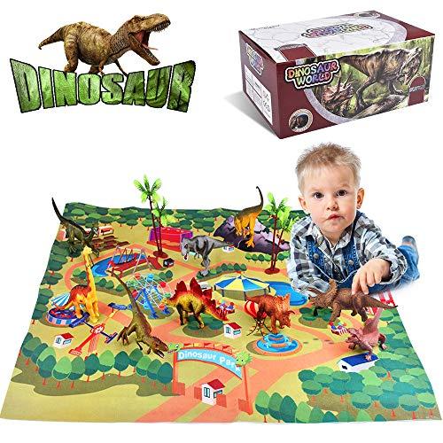 Villana Dinosaur Toys Dinosaur Figures w Activity Play Mat Trees Dinosaur Playset to Create a Dino World Including T-Rex Triceratops ect for Kids Boys Girls Christmas Birthday Gifts