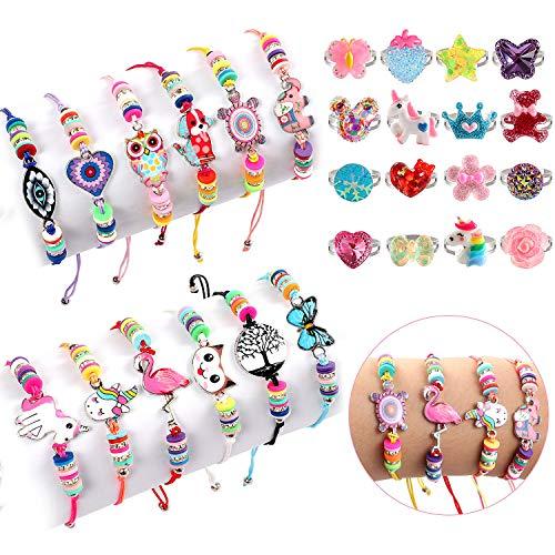 Golray 28 Pcs Kids Girls Bracelets Rings Jewelry Set Little Girls Gift Pretend Play Rings Animal Pendant Woven Bracelets for Girls Kids Friendship Bracelets