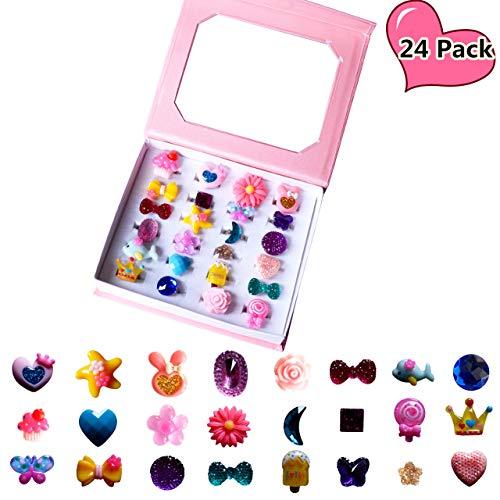 SWARKOL 24pcs Children Kids Little Girl Adjustable Jewelry Rings in Box Girl Pretend Play and Dress Up Rings Little Girls Gift