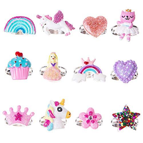 Toddler Girl Jewel Rings in Box Adjustable Girls RingsUnicorn Rainbow Rings Girl Pretend Play and Dress Up Rings-A1