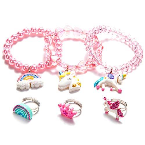 Toddler Girls Unicorn Bracelets Ring Set - Little Girls Jewelry Set Crown Rainbow Rings -Baby Girl Teen Colorful Unicorn Rainbow BraceletPretend Play BraceletChildren Christmas Gift-Style 2