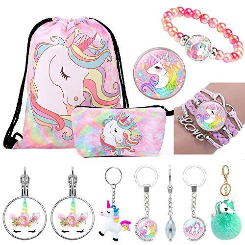 Unicorn Gifts for Girls Unicorn Backpack Pen Bag Bracelet Necklace Ring Key Buckle Earrings Ornaments Pendant 11 Pcs Pink