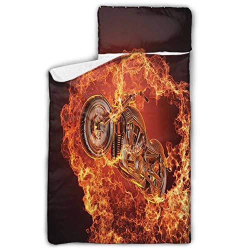 Andrea Sam Crawling Mat Manly DecorChopper Bike Bursting Through Fire Motorbike Motorcycle Dangerous Sport Art Kids Nap Mat