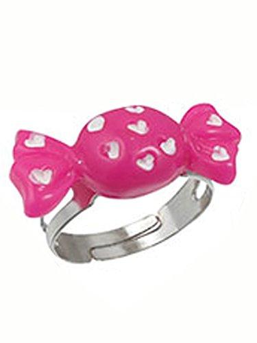 Pink White Candy Ring - Kids Fashion Ring Adjustable Ring