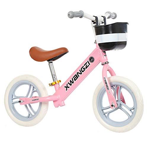 TWTD-TYK Kids BikeChildrens Bike 12 Balance Bike Carbon Steel Frame No Pedal Walking Balance Bike Training Bicycle for Kids 3 to 5 Years Old Color  Pink Size  12inch