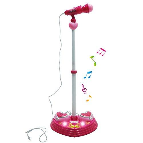 Interactive Kids Karaoke Singing Music Machine Rainbow Flashing Lights and Sound - Pink