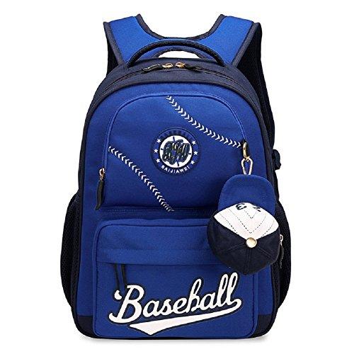 Bysn Baseball School Backpacks for Boys Girls Bookbag for Kids Student Backpack With Small Cap Change Purse Blue