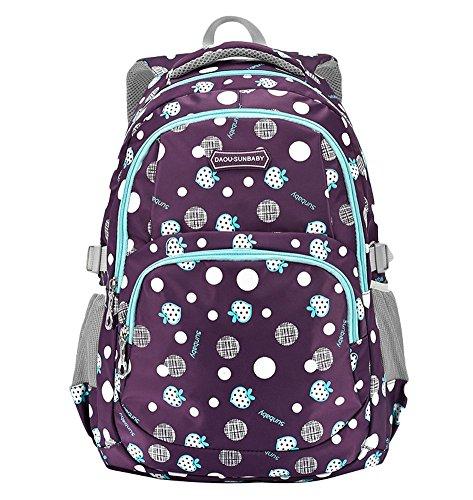 Caikur Waterproof Cute School Backpack for Girls Bookbag Daypack for Kids Purple