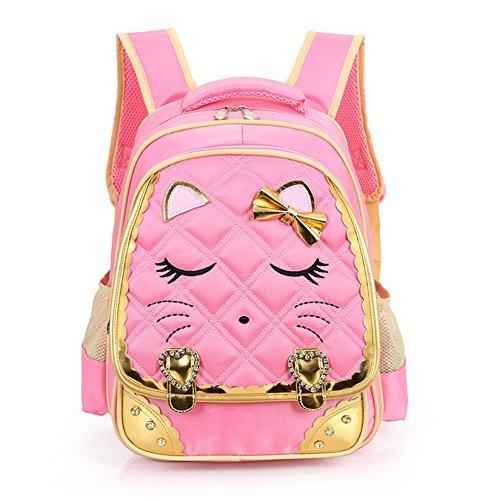 Efree Cute Cat Face Bow Diamond Bling Waterproof Pink School Backpack Girls Book Bag Large Pink