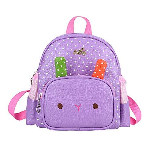Moonwind Cute Bunny Kindergarten Kids Toddler Backpack Leather Book Bag Girls Bunny Puple