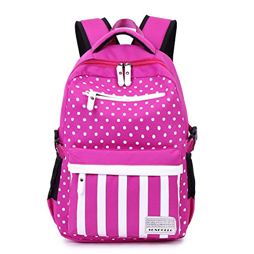 SUNPOLLO Girls Backpack School Bag Casual Backpack Cute Daypack Polka Dot Fashion Book Bag for Girls Women Canvas Rucksack Kids Primary Middle School BackpackFuchsia