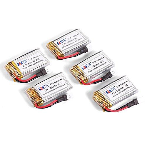 BAKTH Upgraded 37V 380mAh 25C LiPO Rechargeable Battery Pack for Hubsan X4 H107 H107C H107D H107L V252 JXD385 24GHz RC QuadCopter Walkera Super CP Mini CP Genius CP 5PCS