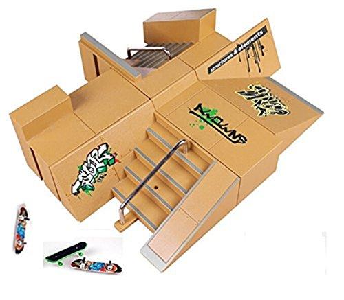 Kidsdream8pcs Skate Park Kit Ramp Parts for Tech Deck Fingerboard Mini Finger Skateboard Fingerboards Ultimate Parks with 3PCS Finger Boards