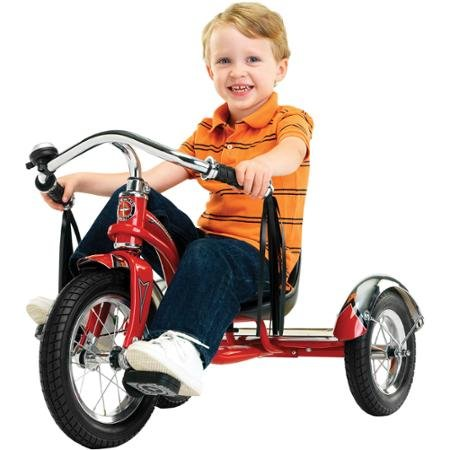 12 Schwinn Roadster Trike Retro-Styled Classic Tricycle Frame with Low Center of Gravity Color Red