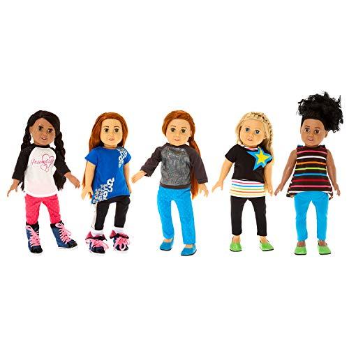 Springfield Fashion Outfit Set Fits 18 American Girl Dolls 9 Item Metallic Sweatshirt Hi-Lo Star Set Friendship Top Pants Blue Shoes Socks etc