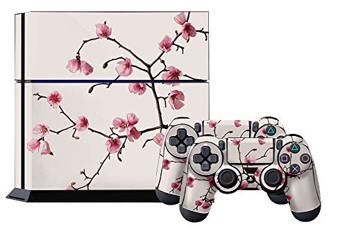 PS4 Console Designer Skin for Sony PlayStation 4 System plus Two2 Decals for PS4 Dualshock Controller Cherry Blossoms by 247Skins