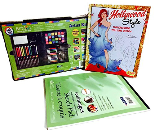 Girls Hollywood Fashion Art Drawing Set Bundle - Includes 3 Items - Kids Art Set Book of Fashions to Sketch Plus Pad of Paper