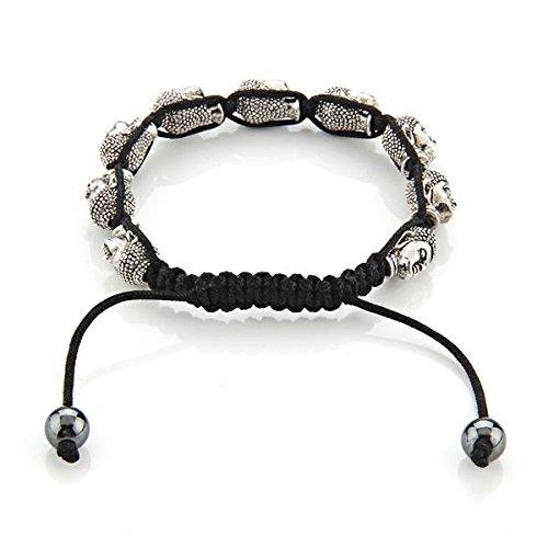 SkyllcBuddha Fashion Art Metal Alloy Silver Tone Adjustable Braided Bracelet Chain