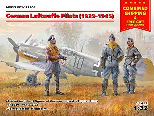 ICM 32101 SCALE 132 GERMAN LUFTWAFFE PILOTS WWII PLASTIC MODEL FIGURES KIT