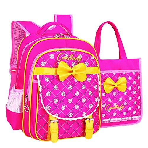 Moonwind Rose 2pcs Kids Book Bag Girls School Backpack and Lunch Bag Handbag Set Large Rose