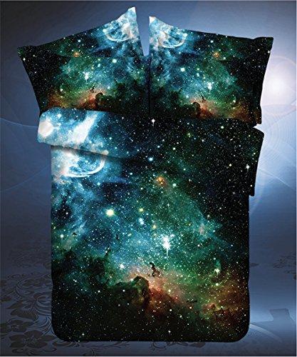 LELVA Galaxy Bedding Set Galaxy Duvet Cover Set Kids Bedding for Boys and Girls Teens Bedding Full Queen Size 1 Twin