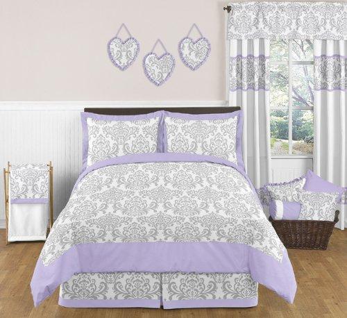 Lavender Gray White Elizabeth Damask Print Children and Teen 3 Piece Full  Queen Girls Bedding Set Collection