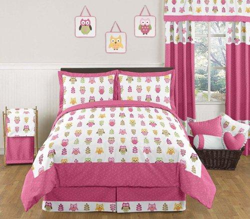 Pink Happy Owl Childrens and Kids 3 Piece Full  Queen Girls Bedding Set