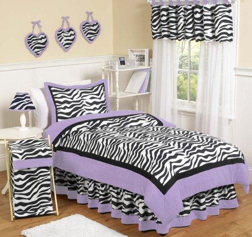 Purple Funky Zebra Childrens and Teen 3 Piece Full  Queen Girls Bedding Set