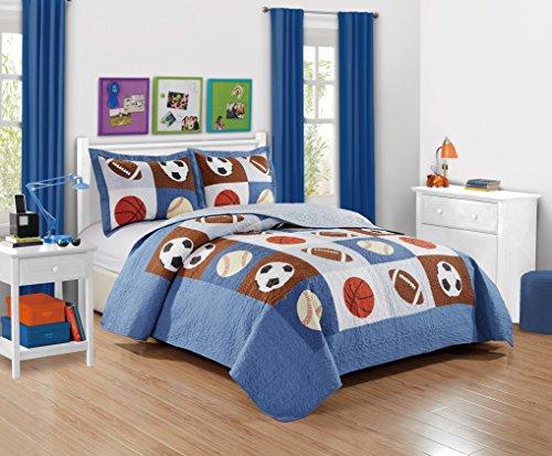 Mk Collection 2 Pc Bedspread Boys Sport Football Basketball Baseball Twin  Twin Extra Long 68 x 90 New
