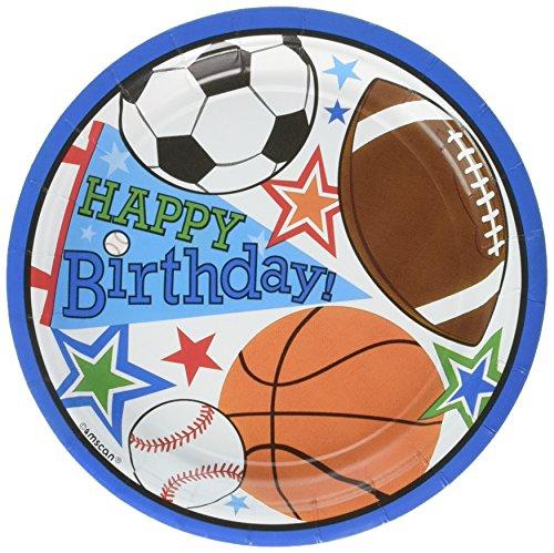 Round Plates  Superstar Ball Sports Collection  Birthday  144 Ct