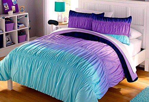 Aqua Blue Purple Ruffle Ruched Ombre Chevron Teen Girl Comforter Shams Sheets  Home Style Exclusive Sleep Mask Full