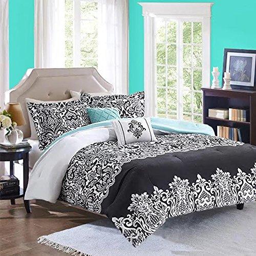 Black White Aqua Teal Girls FullQueen Reversible Damask Comforter SUPER SET  2 Matching Shams  2 BONUS Decorative Pillows  Linens Beyond Flashlight 6 Piece Bedding Set