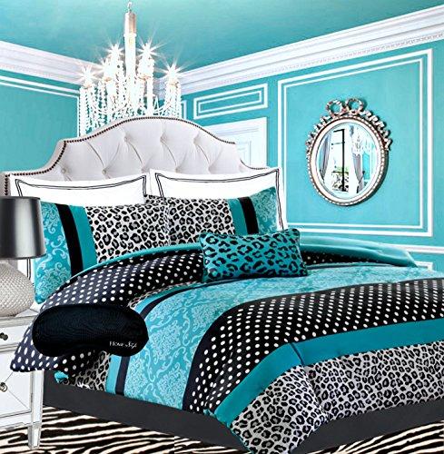 Teen Girls Black Teal Bedding Comforter Damask Leopard FULL QUEEN Bedspread White Aqua Blue Set  Shams  Adorable Throw Pillow  Home Style Brand Sleep Mask Polka Dot Comforters Sets for Girl Kids