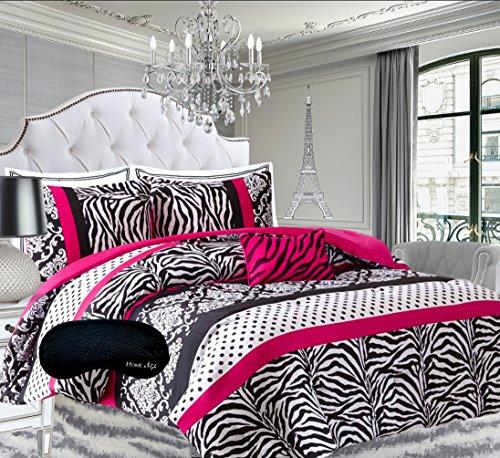 Teen Girls Hot Pink Black White Bedding Comforter Damask Zebra FULL Bedspread Set  2 Shams  Adorable Throw Pillow  Home Style Sleep Mask Polka Dot Fuchsia Paris Comforters Sets for Girl Kids