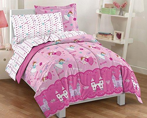 Dream Factory Magical Princess Ultra Soft Microfiber Girls Comforter Set Pink Twin