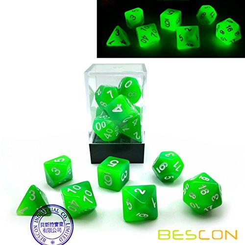 Bescon Gradient Glowing Polyhedral Dice 7pcs Set Forest Light Gradual Luminous RPG Dice Set Glow in Dark Novelty DND Game Dice d4 d6 d8 d10 d12 d20 d in Brick Box