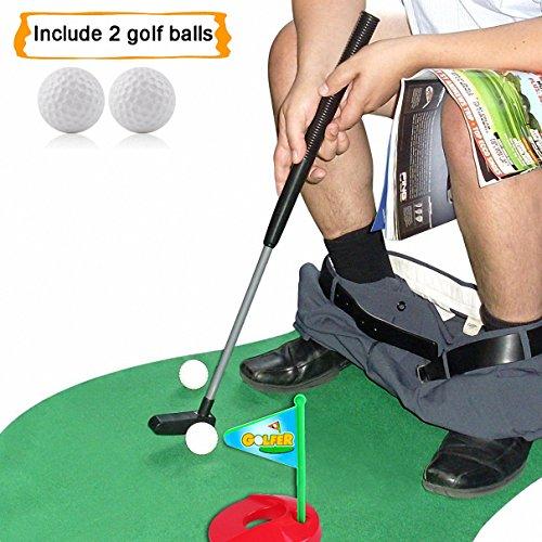 Highsound Toilet Golf Potty Putter Set Bathroom Game Mini Golf Set Golf Putting Novelty Set Play Golf on The Toilet