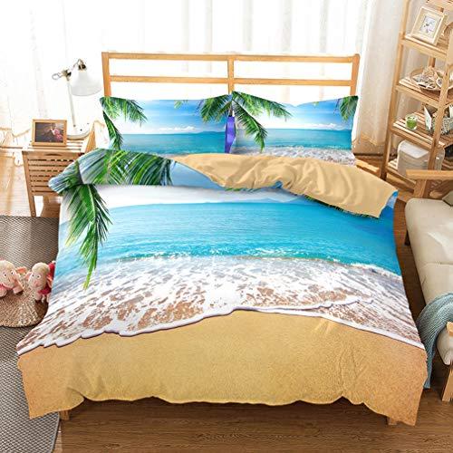 APJJQ 3D Microfiber Tropical Beach Island Sea Wave Palm Tree Sunrise Ocean Bedding Set FullQueen for Adults Kids Boys Girls Duvet Cover Set 2 Pillowcase BlueGreenWhite