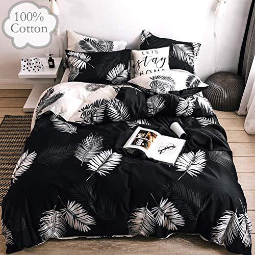 Emily Girl Queen Duvet Cover Cotton Black White Tropical Kids Bedding Sets Botanical Leaf Boho Reversible Comforter Cover Zipper Closure Corner ties Modern Quilt Cover Sets 1 Duvet Cover 2 Pillowcases