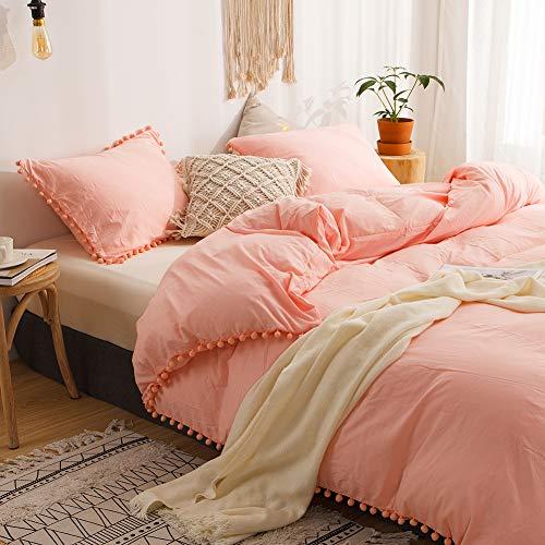 MOVE OVER 3 Pieces Pink Bedding Light PinkPeach Duvet Cover Set Ball Fringe Pattern Design Soft Pink Girls Bedding Sets Queen 1 Pom Poms Duvet Cover 2 Pillow Shams Queen PinkPeach