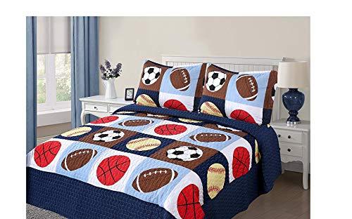 Golden Linens 3 Pieces Full Size Quilt Bedspread Set Kids Sports Basketball Football Baseball for Boys Girls Full