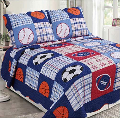 Golden Linens 3 pcs 1 Quilt 2 Pillow Cases Reversible Printed Kids Bedspread Sport American Football Baseball and Basketball  Full 26