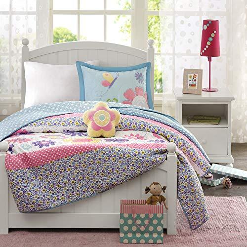 Mi Zone Kids Crazy Daisy Twin Bedding For Girls Quilt Set - Sky Blue Pink  Flowers Butterfly - 3 Piece Kids Girls Quilts - Ultra Soft Microfiber Quilt Sets Coverlet