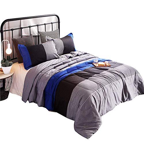 YOUSA 3-Piece Striped Quilt Set Boys BedspreadsCoverlet SetsComforter Sets Queen Blue-Striped